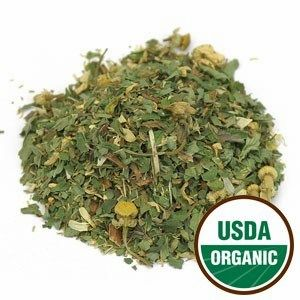 A small pile of loose leaf USDA Organic Herbal Tea